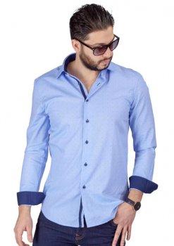 Blue Bow Tie Print Contrast Details Slim Fit Shirt-1
