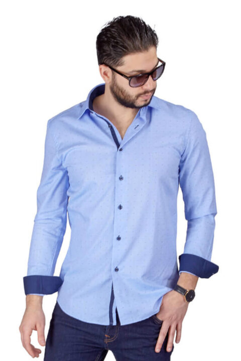 Blue Bow Tie Print Contrast Details Slim Fit Shirt-1