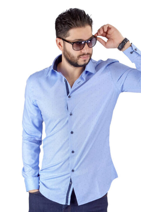 Blue Bow Tie Print Contrast Details Slim Fit Shirt-2