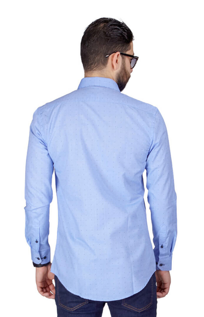Blue Bow Tie Print Contrast Details Slim Fit Shirt-4