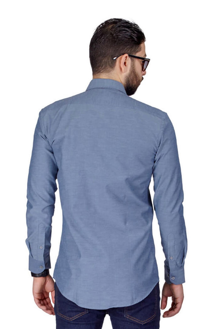 Charcoal Gray Slim Fit Wrinkle Dress Shirt