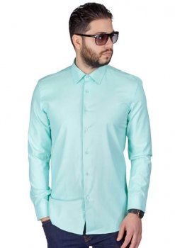 Mint Green Slim Fit Wrinkle Dress Shirt