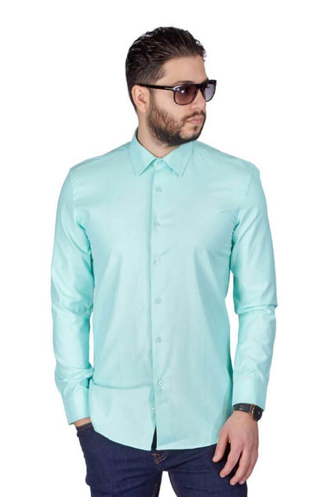 8ac02159d358 Mint Green Slim Fit Wrinkle Dress Shirt - Azar Suits