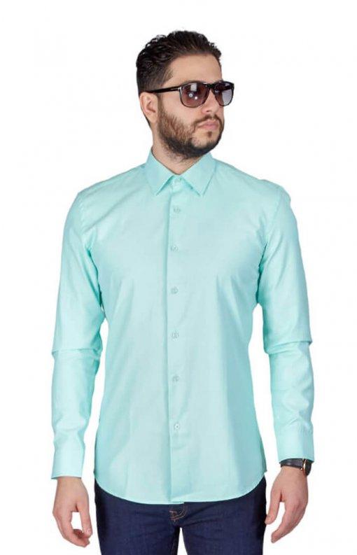 Mint Green Slim Fit Wrinkle Dress Shirt
