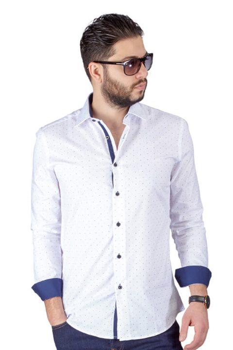 White Bow Tie Print Contrast Details Slim Fit Shirt
