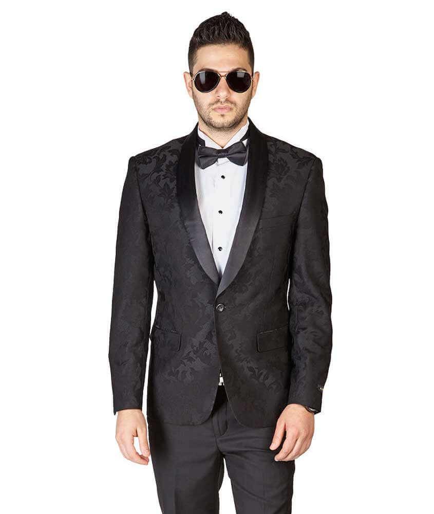 ccd2d68c225 Slim Fit 1 Button Black Shawl Lapel Satin Collar Floral Tuxedo ...