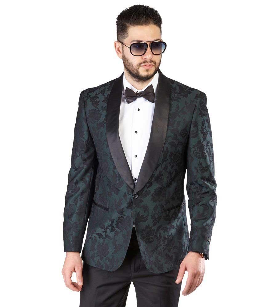 9cee0c6a91b Slim Fit 1 Button Green Shawl Lapel Black Satin Collar Floral Tuxedo ...