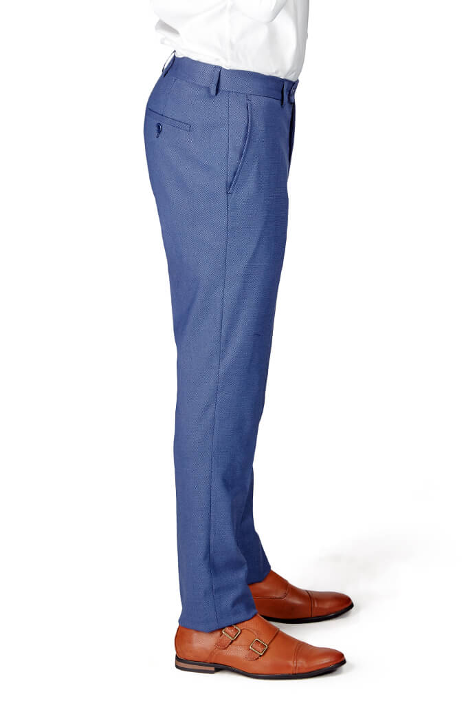 Azarman - Slim Fit Slate Blue/Grey Micro Textured Weave 2 Button Suit 11812