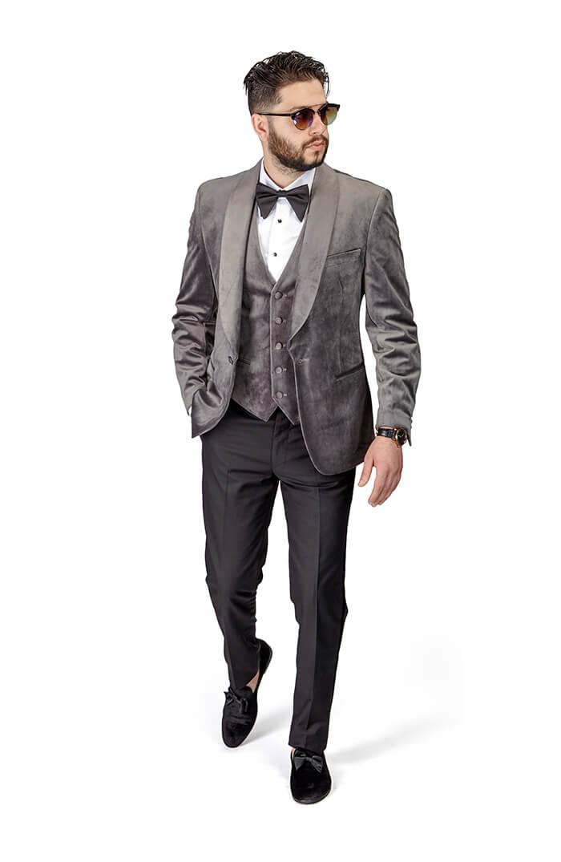 buy sale hot-selling discount best online Slim Fit 1 Button Grey Velvet Shawl Lapel 3 Piece Vested Tuxedo Black Pants