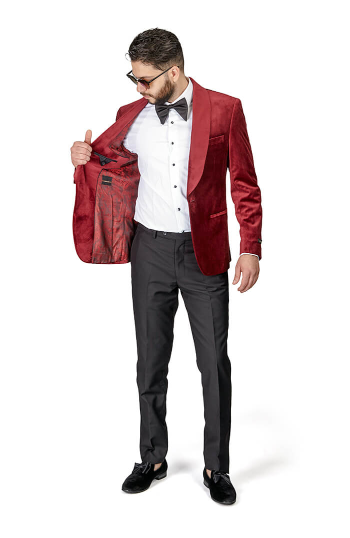 Shawl Lapel Burgundy VELVET Jacket Slim Fit Tuxedo Black Pants 1Button AZAR MAN