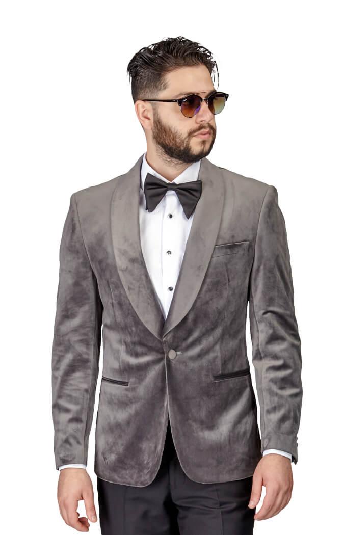 Boys Slim Fit Grey 5 Piece Suit with Velvet Lapel