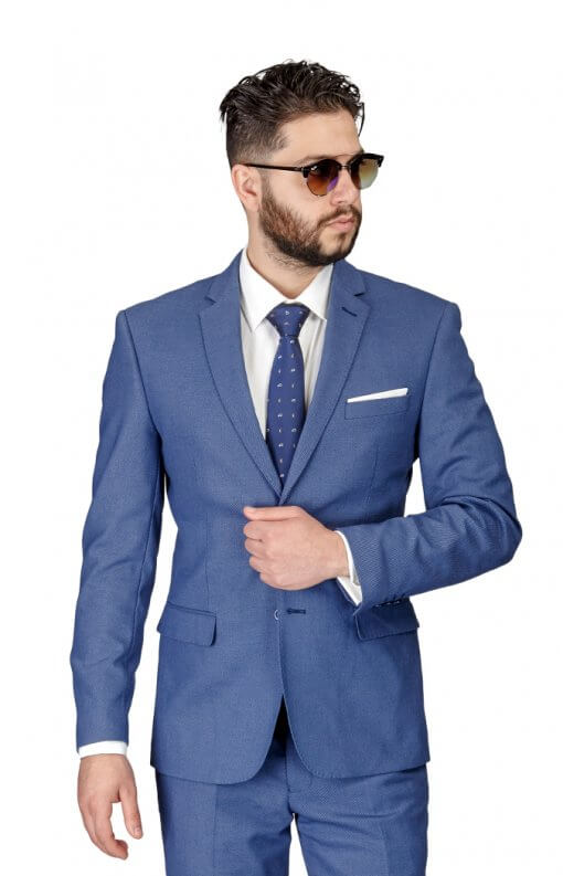Azarman - Slim Fit Slate Blue/Grey Micro Textured Weave 2 Button Suit 11812