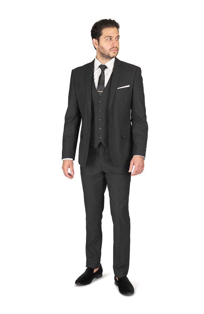 Slim Fit 2 Button Black Micro Texture Notch Lapel Suit Vest Optional