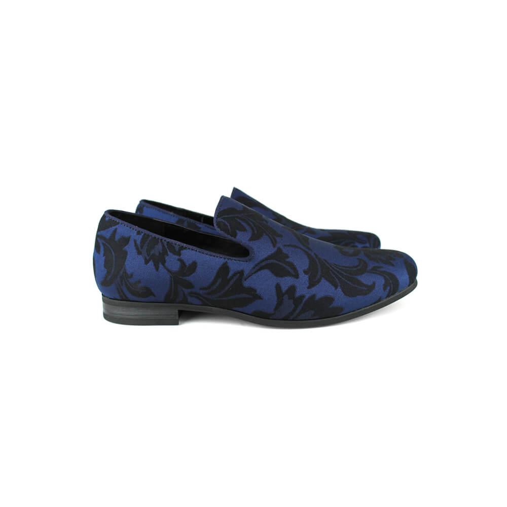 Men's Navy Blue Slip On Floral Tone