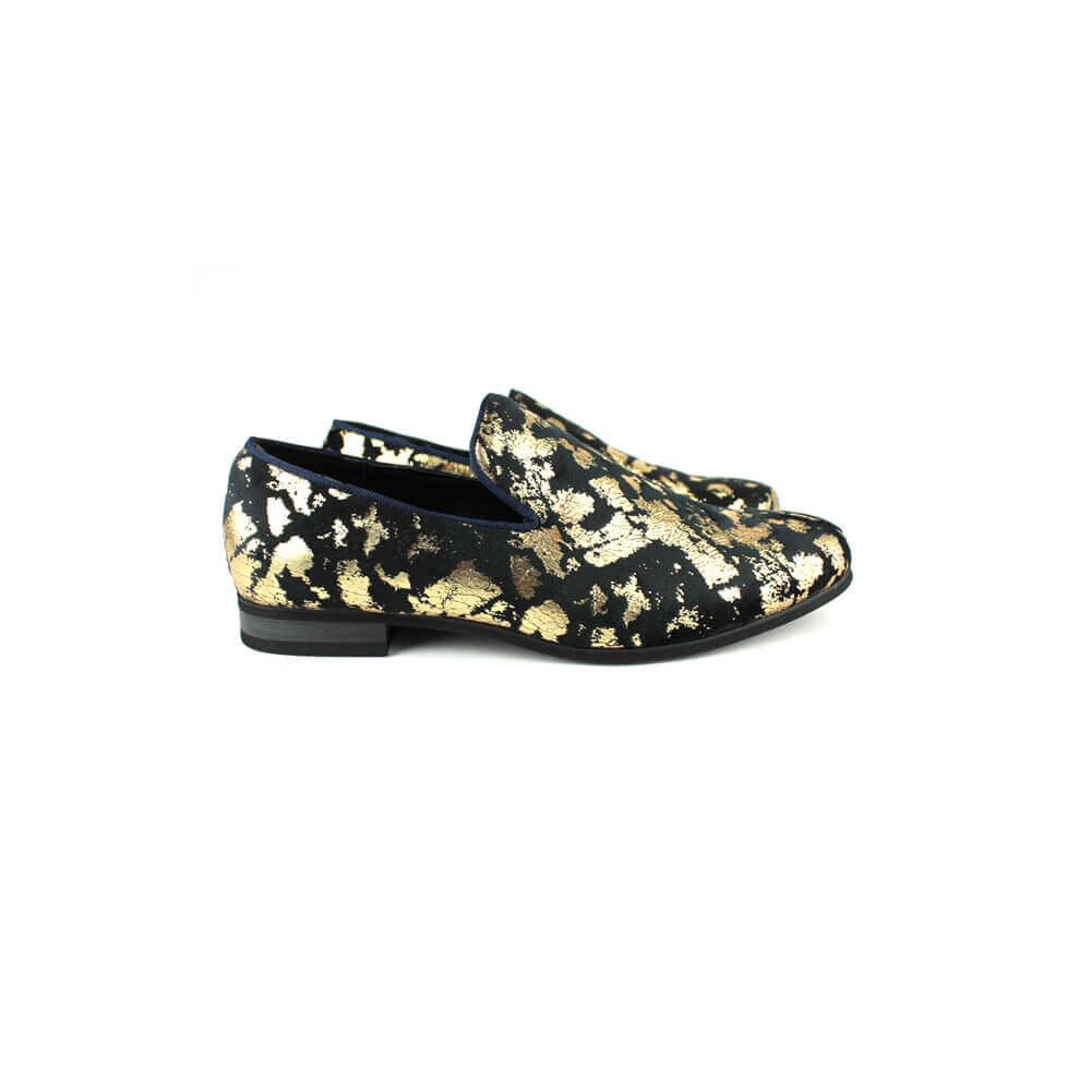 e1aab4602ca4 Men's Slip On Black Velvet Gold Leopard Print Dress Shoes Loafers LS21