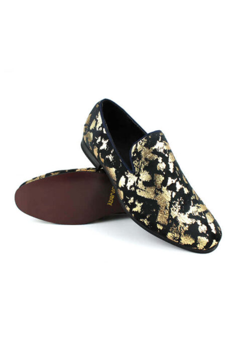 Mens Tan Leopard Suede Backless Slip On Mule Gold Buckle Loafers Shoes AZARMAN