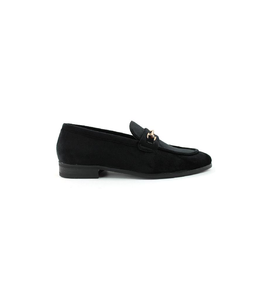 Men/'s Black Velvet Slip On Gold Buckle Dress Shoes Loafers Formal By AZAR